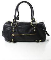Linea Pelle Black Leather Round Slouchy Embellished Medium Hobo Handbag