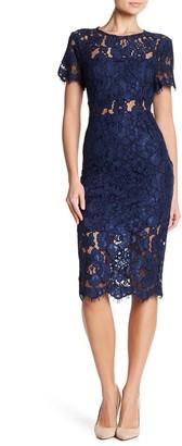 NSR Lace Short Sleeve Sheath Midi Dress