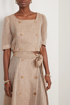 Lisa Marie Fernandez Net Sustain Diana Cropped Linen-blend Gauze Top - Sand