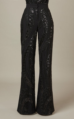 Elie Saab Embroidered Tulle Pants