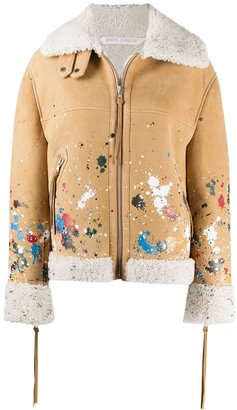 Palm Angels Shearling Lining Paint Splatter Jacket