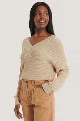 NA-KD Organic V-neck Rib Knitted Sweater