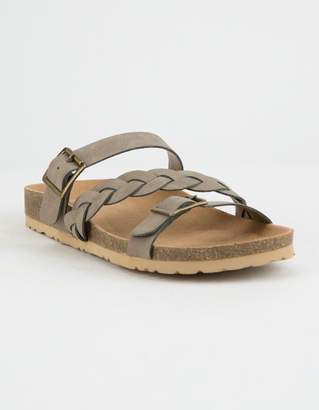 Soda Sunglasses Braided Strap Buckle Taupe Womens Sandals