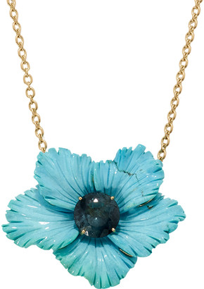 Irene Neuwirth One-Of-A-Kind Carved Turquoise and Tourmaline Tropical Flower Necklace - Yellow Gold