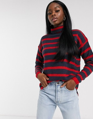 Brave Soul monty roll neck fisherman knit jumper in navy and red stripe