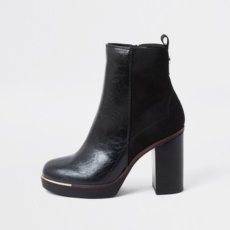 River Island Womens Black faux leather smart platform ankle boot