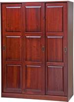 100% Solid Wood 3-Sliding Door Wardrobe/Armoire/Closet by Palace Imports, Mahogany Color, 1 Full/5 Small Shelves, 1 Clothing Rod Included. Additional Full Shelves Sold Separately. Requires Assembly