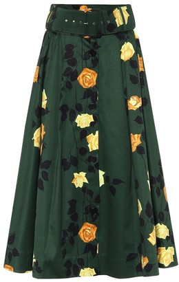 MSGM Floral cotton midi skirt