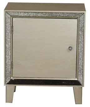 Homeroots 23.5' Champagne Wood Accent Cabinet with a Door and Antique Mirrored Glass