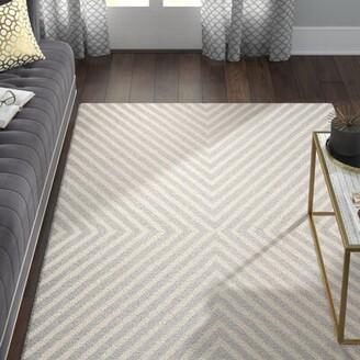 Willa Arlo Interiors Ordingen Striped Wool Silver/Ivory Area Rug Willa Arlo Interiors