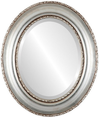 """The Oval And Round Mirror Store Somerset Framed Oval Mirror in Silver Leaf with Brown Antique, 29""""x41"""""""
