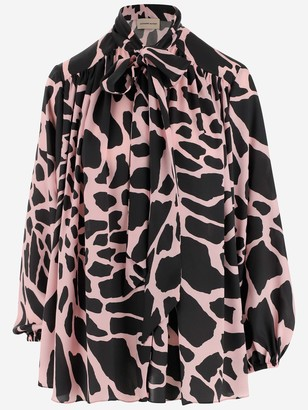 Alexandre Vauthier Printed Bow Blouse