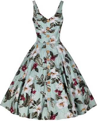 Pretty Kitty Fashion Mint Green Retro Vintage Floral Print Summer 50s Swing Dress