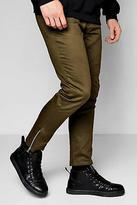 boohoo NEW Mens Khaki Cropped Ankle Zip Detail Slim Chino in Cotton