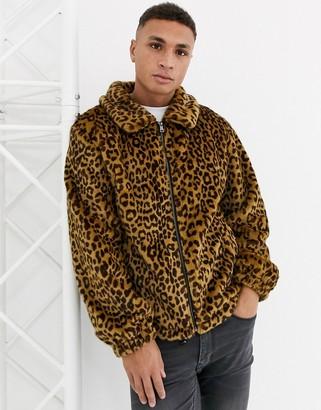 Urban Code Urbancode faux fur leopard coach jacket