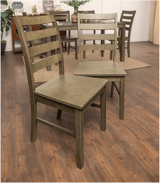 Hewson Set Of 2 Solid Wood Ladder Back Kitchen Dining Chairs