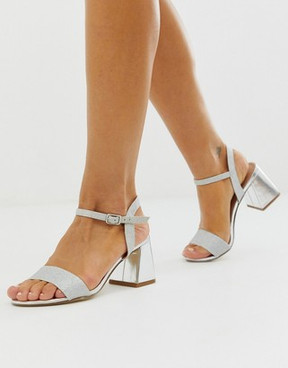 New Look low block heeled sandal in silver
