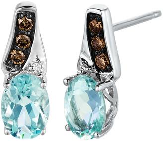 LeVian Le Vian 14K 0.13 Ct. Tw. Diamond & Sea Blue Aquamarine Earrings