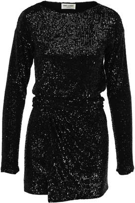 Saint Laurent Saint Lauren Sequins Wrap Dress