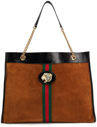 Gucci Raja Embellished Cracked Patent Leather-trimmed Suede Tote