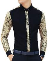 Ouye Men's Luxury Golden Floral Long Sleeve Casual Shirt Large