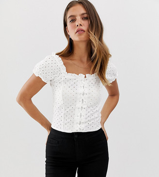 New Look broderie lattice front top in white