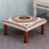 Novica Brown Mandala Sheesham Wood with Multicolor Embroidery in Shades of Brown and Ivory Square Upholstered Footstool Ottoman (India)