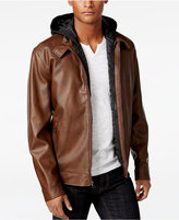 INC International Concepts Men's Faux-Leather Hooded Bib Jacket, Only at Macy's