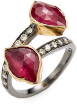 Amrapali Women's Lotus Ring with Diamond and ruby