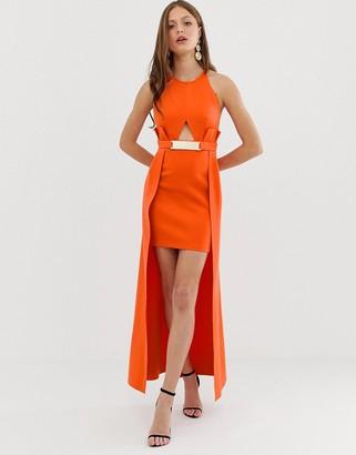 Asos Design DESIGN Pemium halter keyhole mini dress with gold belt detail-Orange