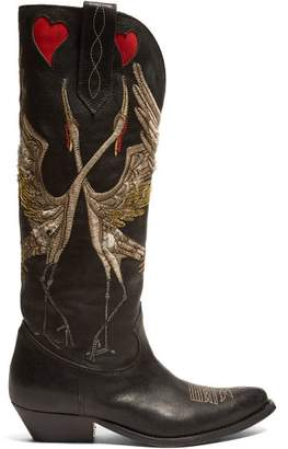 Golden Goose Wish Star Bird Embroidered Leather Boots - Womens - Black Multi