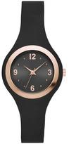 Xhilaration Women's Rubber Strap Watch - Black/Rose Gold