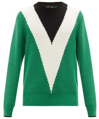 Rag & Bone Emory Chevron-intarsia Cotton Sweater - Mens - Green Multi