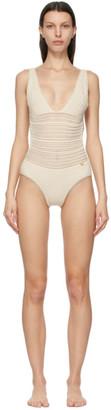 Valentino Off-White Cotton Crochet One-Piece Swimsuit