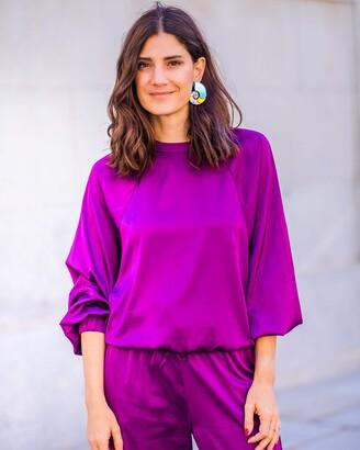 The Drop Women's Dark Violet Satin Sweatshirt by @balamoda XXS