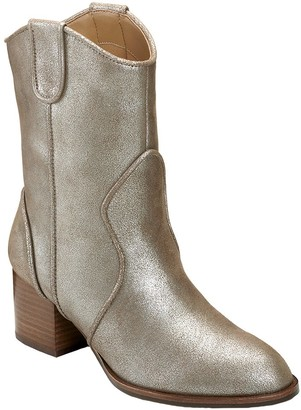 Aerosoles Western-Inspired Leather Mid Boots -Movie Script