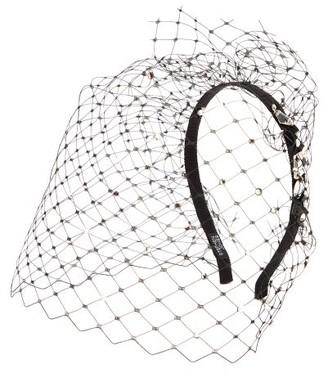 Stephen Jones Glow Crystal-embellished Veiled Headband - Black