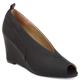 Brinley Co. Womens Faux Leather Peep-toe Deep V-cut Wedges