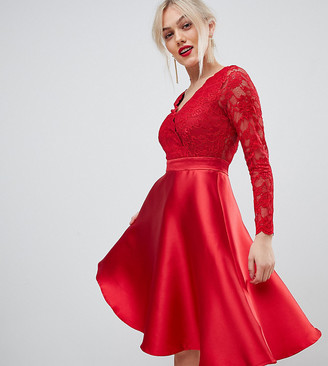 City Goddess Petite prom dress with lace sleeves