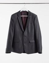 Asos Design DESIGN wedding skinny wool mix suit jacket in charcoal herringbone