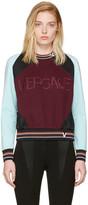 Versace Burgundy & Blue Colorblocked Logo Sweatshirt