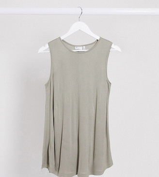 ASOS DESIGN Maternity oversized longline swing tank in khaki