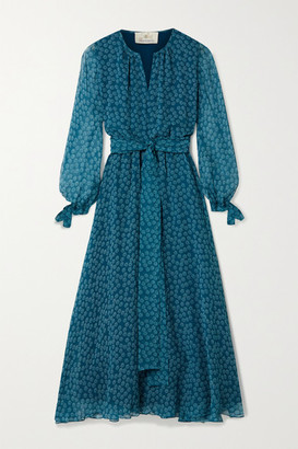 ARoss Girl x Soler Amanda Floral-print Silk-georgette Midi Dress - Teal