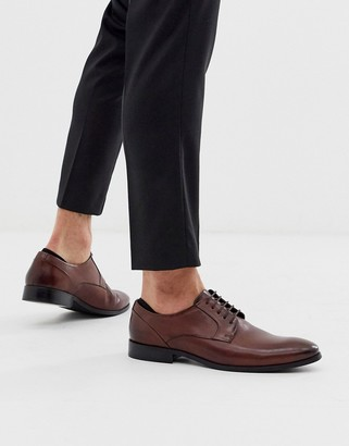 ASOS DESIGN lace up shoes in brown leather with natural sole