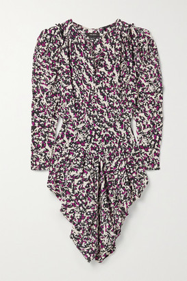 Isabel Marant Margaretia Ruched Printed Silk-blend Crepe De Chine Mini Dress - Purple