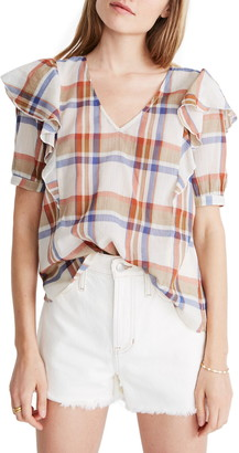 Madewell Shoulder Ruffle V-Neck Top
