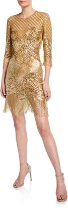 Naeem Khan 3/4-Sleeve Beaded-Fringe Cocktail Dress