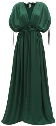 Maison Rabih Kayrouz Gathered V-neck Satin Maxi Dress - Green
