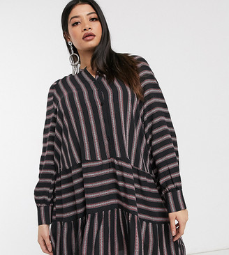 Only Curve smock dress in mixed stripe-Black
