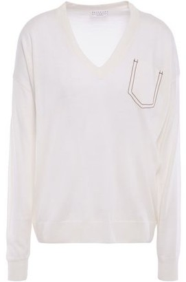 Brunello Cucinelli Bead-embellished Cashmere, Silk And Hemp-blend Sweater